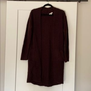 Duster Cardigan long knitted ribbed size XS (NWOT)